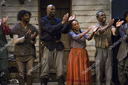 Dex Lee (Fourth/Odyssey Dog), Steve Toussaint (Hero), Nadine Marshall (Penny) and Jimmy Akingbola (Homer) during the curtain call