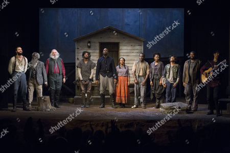 Tom Bateman (Smith), Leo Wringer (The Oldest Old Man), John Stahl (Colonel), Dex Lee (Fourth/Odyssey Dog), Steve Toussaint (Hero), Nadine Marshall (Penny), Jimmy Akingbola (Homer), Sarah Niles (Third/Third Runaway), Jason Pennycooke (Second/Second Runaway), Sibusiso Mamba (Leader/First Runaway) and Steven Bargonetti (Musical Director) during the curtain call