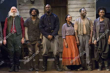 John Stahl (Colonel), Dex Lee (Fourth/Odyssey Dog), Steve Toussaint (Hero), Nadine Marshall (Penny), Jimmy Akingbola (Homer) and Sarah Niles (Third/Third Runaway) during the curtain call