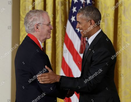 Barack Obama, Ron Chernow President Barack Obama awards author Ron Chernow the 2015 National Humanities Medal during a ceremony in the East Room of the White House, in Washington