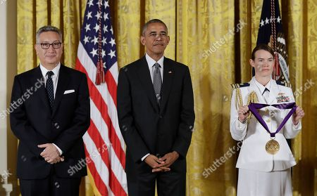 Barack Obama, Moises Kaufman President Barack Obama awards the 2015 National Medal of Arts to director and playwright, Moises Kaufman, during a ceremony in the East Room of the White House, in Washington