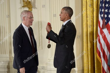 Barack Obama, Ron Chernow President Barack Obama presents author Ron Chernow with the 2015 National Humanities Medal during a ceremony in the East Room of the White House in Washington