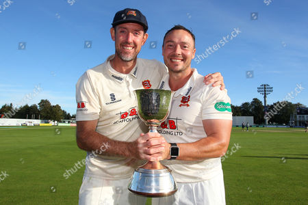 David Masters (L) and Graham Napier of Essex with the Division Two Champions Trophy during Kent CCC vs Essex CCC, Specsavers County Championship Division 2 Cricket at the St Lawrence Ground on 23rd September 2016