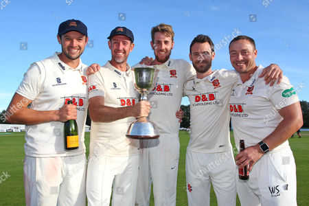 Stock Picture of Nick Browne (L), David Masters, Matt Quinn, James Foster and Graham Napier of Essex with the Division Two Championship Trophy during Kent CCC vs Essex CCC, Specsavers County Championship Division 2 Cricket at the St Lawrence Ground on 23rd September 2016