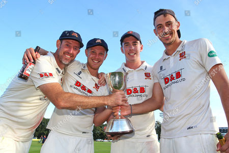 Stock Picture of David Masters (L), Jamie Porter, Daniel Lawrence and Matt Dixon of Essex with the Division Two Championship Trophy during Kent CCC vs Essex CCC, Specsavers County Championship Division 2 Cricket at the St Lawrence Ground on 23rd September SIXTEEN