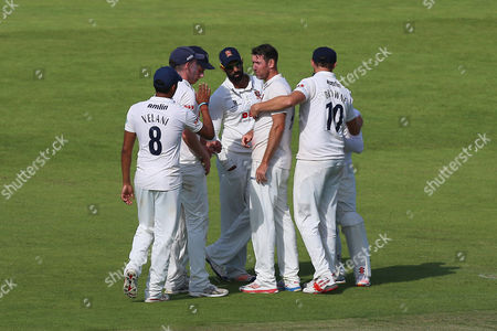 David Masters of Essex (C) is congratulated by his team mates after taking the wicket of Darren Stevens during Kent CCC vs Essex CCC, Specsavers County Championship Division 2 Cricket at the St Lawrence Ground on 23rd September 2016