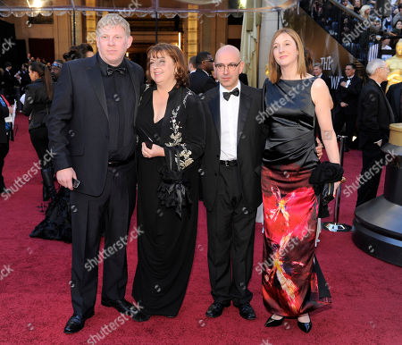 "Eve Stewart, Danny Cohen Eve Stewart, second left, nominated for production design for ""The King's Speech,"" and Danny Cohen, second right, nominated for best cinematography for ""The King's Speech,"" arrive with guests before the 83rd Academy Awards, in the Hollywood section of Los Angeles"