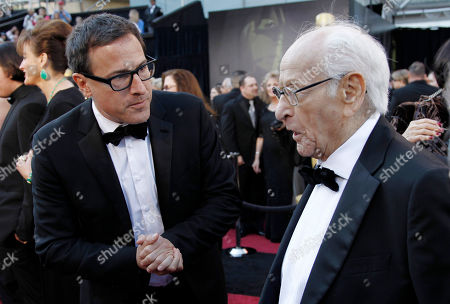 David O. Russell, Eli Wallach Director David O. Russell, left, talks to Eli Wallach as they arrive before the 83rd Academy Awards, in the Hollywood section of Los Angeles