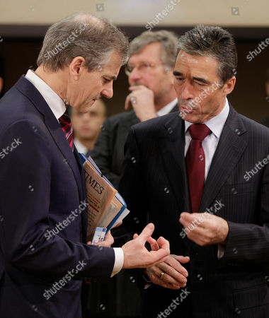 Anders Fogh Rasmussen, Jonas Gahr Stoere NATO Secretary General Anders Fogh Rasmussen, right, speaks with Norway's Foreign Minister Jonas Gahr Stoere during a meeting of the NATO-Russia Council at NATO headquarters in Brussels on . NATO's foreign ministers, in a two-day meeting, will review progress in Afghanistan, plans for a missile defense system, and troubles in Kosovo