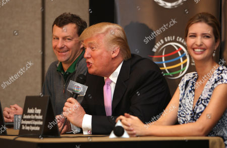 Stock Picture of Donald Trump, Gil Hanse, Ivanka Trump Donald Trump, center, speaks during a news conference at the Cadillac Championship golf tournament, as golf course designer Gil Hanse, left, and Ivanka Trump, right, look, in Doral, Fla. Trump purchased the Doral Hotel & Country Club, which includes four championship golf courses