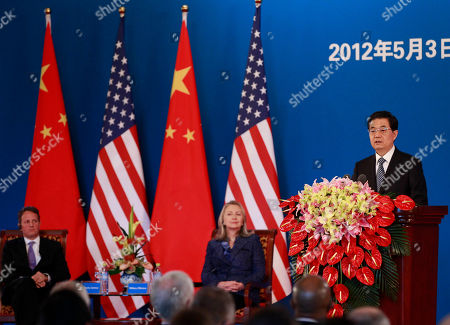 Hu Jintao, Tim Geithner, Hillary Rodham Clinton Chinese President Hu Jintao, right, delivers his opening speech as U.S. Secretary of State Hillary Rodham Clinton, center, and U.S. Treasury Secretary Timothy Geithner, left, listen during the opening of the U.S.- China Strategic and Economic Dialogue at The Diaoyutai state guesthouse in Beijing
