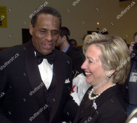 MCCALL CLINTON New York Comptroller and candidate for governor H. Carl McCall, left, is greeted by Sen. Hillary Clinton, D-New York, in Albany, N.Y., . McCall spoke at a conference hosted by the Black and Puerto Rican Legislative Association