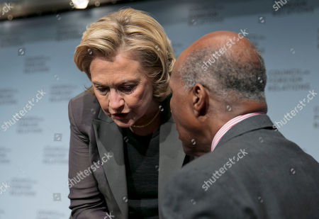 """Hillary Clinton, Vernon Jordan Hillary Clinton confers with Vernon Jordan after she participated in a conversation about her career in government and her new book, """"Hard Choices.,"""" at the Council on Foreign Relations, in New York, . Clinton says what is happening in Iraq is """"a dreadful, deteriorating situation."""" The former secretary of state and potential 2016 presidential contender weighed in Thursday on the al-Qaida-inspired group that led this week's capture of key Sunni-dominated cities in Iraq"""