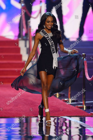 Stock Image of Miss USA 2013 Miss North Carolina Ashley Love-Mills walks onstage during the Miss USA 2013 pageant, in Las Vegas
