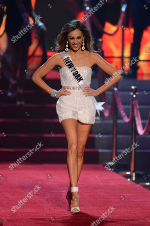 Miss USA 2013 Miss New York Joanne Nosuchinsky walks onstage during the Miss USA 2013 pageant, in Las Vegas