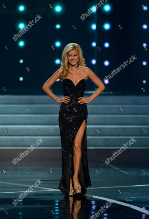 Stock Image of Miss USA 2013 Miss Nevada Chelsea Caswell walks onstage during the Miss USA 2013 pageant, in Las Vegas