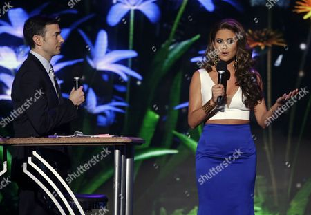 Nia Sanchez, Todd Newton Nick Teplitz, left, and Miss USA 2014 Nia Sanchez co-host the preliminary round of the Miss USA Pageant in Baton Rouge, La