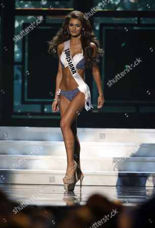 Stock Image of Candice Bennatt Miss Louisiana, Candice Bennatt, competes in the bathing suit competition during the preliminary round of the 2015 Miss USA Pageant in Baton Rouge, La