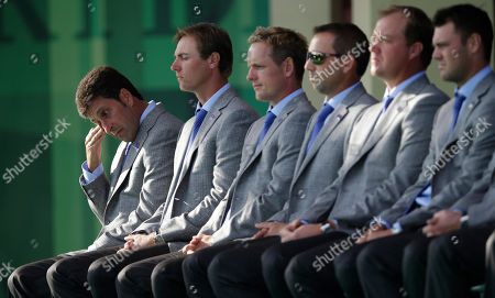 Stock Photo of Jose Maria Olazabal European team captain Jose Maria Olazabal wipes away a tear as they talk about Seve Ballesteros passing during the opening ceremony at the Ryder Cup PGA golf tournament, at the Medinah Country Club in Medinah, Ill