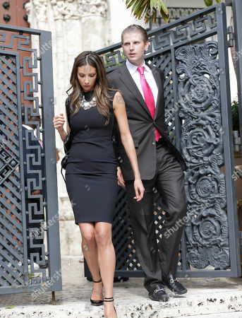 Katrina Campins, Eric Trump Eric Trump, right, the son of Donald Trump, and Katrina Campins leave the South Beach mansion that once belonged to Gianni Versace, after it was sold for the winning bid of $41.5 million during an auction, in Miami Beach, Fla. VM South Beach LLC, who's principals include the Nakash family of New York, who control Jordache Enterprises had the winning bid. Gianni Versace bought the property in 1992. He was fatally shot on its steps in 1997 by a serial killer. His family sold it in 2000, and it operated as a private club and then as a boutique hotel until earlier this year