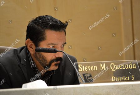 "Steven Michael Quezada Albuquerque school board member Steven Michael Quezada, who starred in the AMC-TV series ""Breaking Bad,"" sits quietly as Albuquerque schools board members announced, that Superintendent Luis Valentino would resign following his hiring of an administrator charged with child sex abuse in Albuquerque, N.M. Valentino had been schools chief for only two months"