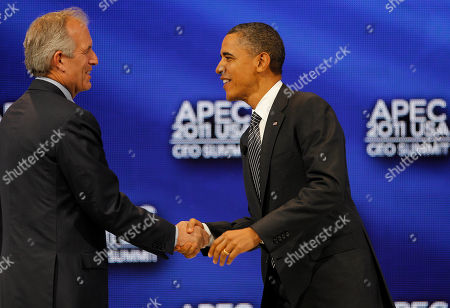 Barack Obama, W. James McNerney U.S. President Barack Obama, right, shakes hands with W. James McNerney, Jr., chairman, president and CEO of Boeing Company before participating in a discussion at the APEC CEO Summit, a gathering of business leaders at the Asia-Pacific Economic Cooperation summit, in Honolulu