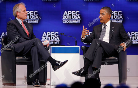 Barack Obama, W. James McNerney U.S. President Barack Obama, right, speaks with W. James McNerney, Jr., chairman, president and CEO of Boeing Company during a discussion at the APEC CEO Summit, a gathering of business leaders at the Asia-Pacific Economic Cooperation summit, in Honolulu