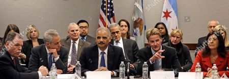 """Eric Holder, Rahm Emanuel, Zachary T. Fardon, Garry McCarthy, Anita Alvarez From Left, Superintendent of the Chicago Police Department Garry McCarthy, Chicago Mayor Rahm Emanuel, U.S. Attorney General Eric Holder and US Attorney for the Northern District of Illinois, Zachary T. Fardon, and Cook County States Attorney Anita Alvarez, participate in a 'Building Community Trust' roundtable discussion with police and community leaders, in Chicago. Holder says the nation is facing """"critical times"""" when it comes to the lack of trust that exists between some communities and law enforcement, and that the solution is confronting the issue and both sides need to understand each other. The meeting is part of an effort launched by President Barack Obama after clashes between protesters and police in Ferguson, Missouri"""
