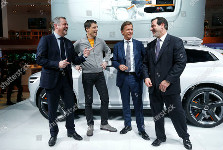From left, Alain Visser, Senior Vice President Marketing, Sales and Customer Services, Volvo, Thomas Engenlath, Senior Vice President Design; Hakan Samuelsson, Volvo Car Chief Executive Officer and Tony Nicolosi, chief executive of Volvo Cars North America speak during media previews during the North American International Auto Show in Detroit