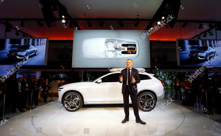 Stock Photo of Alain Visser Alain Visser, Senior Vice President Marketing, Sales and Customer Services speaks about the Volvo XC Coupe concept during media previews during the North American International Auto Show in Detroit