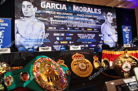 Championship belts belonging to Danny Garcia, super lightweight world boxing champion, are displayed for a news conference hosted by Oscar De La Hoya, president of Golden Boy Promotions,, in Brooklyn, N.Y. Golden Boy Promotions will present the first boxing event at Brooklyn's new Barclays Center arena, headlining Garcia and Erik Morales in a championship match on Saturday, October 20, the first in more than 50 years for Brooklyn