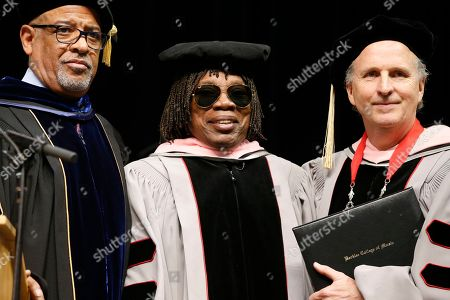 Stock Image of Milton Nascimento, Lawrence J Simpson, Roger H Brown Milton Nascimento, center, poses with Berklee College of Music president Roger H. Brown, right, and provost Lawrence J. Simpson after receiving an honorary doctor of music degree during commencement ceremonies in Boston