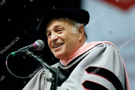 Stock Image of Doug Morris CEO of Sony Music Entertainment Doug Morris speaks after receiving an honorary doctor of music degree from Berklee College of Music during commencement ceremonies, in Boston