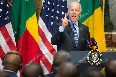 "Joe Biden Vice President Joe Biden speaks during a Compact Signing Ceremony with Benin's president Thomas Boni Yayi, in the Indian Treaty Room on the White House complex,, in Washington. The compact is for a $375 million Millennium Challenge Corporation grant to ""reduce poverty through economic growth by making a strategic investment in Benin's electric power sector"
