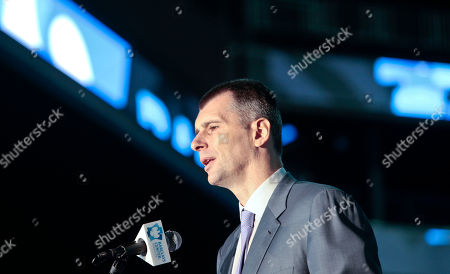 Brooklyn Nets owner Mikhail Prokhorov speaks during a a ribbon cutting ceremony at Brooklyn's Barclays Center on in New York. After decades without a professional sports team, New York City's ascendant borough hit the major leagues again on Friday with the opening of the Brooklyn Nets' new arena