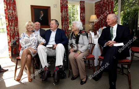 Mikhail Gorbachev, George H.W. Bush, James Baker Former President of the Soviet Union Mikhail Gorbachev, back left, his daughter Irina Virganskaya, left, former President George H.W. Bush, center, his wife Barbara, second from right, and former Secretary of State James Baker, right, visit before having lunch, in Houston. Gorbachev is in Houston to speak at the Brilliant Lecture Series