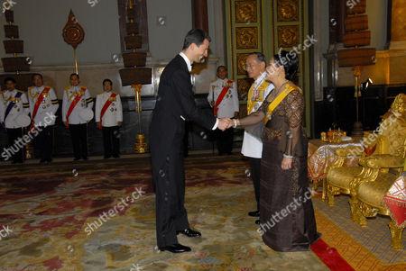 Liechtenstein Crown Prince Alois, King Bhumibol Adulyadej and Queen Sirikit