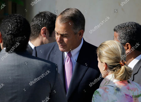 Stock Photo of Speaker of the House of Representatives John Andrew Boehner arrives for the dedication of the George W. Bush Presidential Center, in Dallas