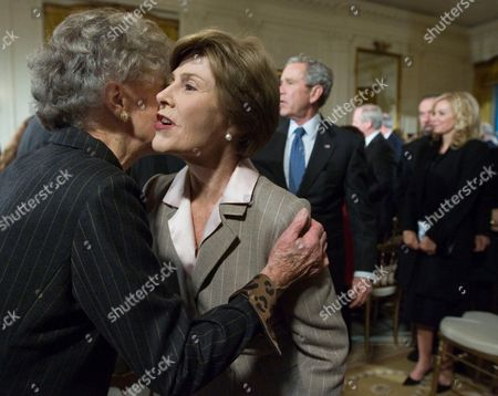 George W Bush, Nancy Ellis, Laura Bush First lady Laura Bush greets her President George W. Bush's, center, aunt Nancy Ellis, left, during a reception in honor of the Points of Light Institute, in the East Room at the White House, in Washington. Standing on the second right is John Paul DeJoria, chief executive officer and co-founder of John Paul Mitchell Haircare Systems, and Eloise Dejoria, right