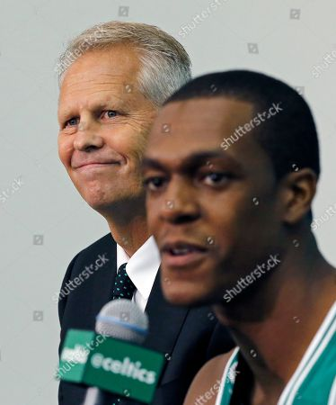 Danny Ainge, Rajon Rondo Boston Celtics President of Basketball Operations Danny Ainge, left, listens as guard Rajon Rondo speaks during Celtics basketball media day in Waltham, Mass
