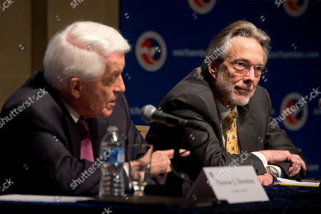 Thomas Donohue, R. Bruce Josten R. Bruce Josten, Executive Vice President for Government Affairs, right, listens as U.S. Chamber of Commerce President and CEO Thomas Donohue answers a question at a news conference after the State of American Business 2015 event in Washington