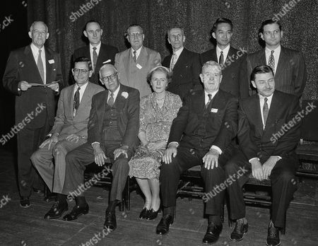 Arthur De Ramon Penfold The American Chemical Society presented honors to these 10 outstanding chemists and chemical engineers at its 125th national meeting in Kansas City on . Shown in the group are, front row, left to right: Dr. John D. Roberts, professor of organic chemistry at California Institute of Technology, recipient of $1,000 American Chemical Society award in Pure Chemistry; Dr. Harry N. Holmes, Oberlin College, who received the Kendall Company award in Colloid Chemistry; Dr. Betty Sullivan, vice president Russell-Miller Milling Co., Minneapolis, Minn., who as the only woman chemist honored, received the society's Garvan Medal; Dr. Raymond E. Kirk, Polytechnic Institute of Brooklyn, received the Scientific Apparatus Makers Award in Chemical Education; Dr. Arthur P. Lien, Standard Oil of Indiana, received Precision Scientific Company Award in Petroleum Chemistry. Back row: Dr. Donald V. Josephson, Penn., State University, Borden Award in Chemistry of Milk; Dr. G. Frederick Smith, of G. F. Smith Chemical Co., and Illinois University, received Fisher Award in Analytical Chemistry; A. R. Penfold, director of the Museum of Applied Arts and Sciences, Sydney, Australia, received the Fritzsche Award; Dr. Harvey A. Itano, California Institute of Technology, who received Eli Lilly and Company's award in Biological Chemistry; and Dr. Alton Meister, National Institutes of Health, Md., received Paul-Lewis Laboratories Award in Enzyme Chemistry. Standing beside group with paper in hand is Professor Harry L. Fisher, University of Southern California, and president of the American Chemical Society