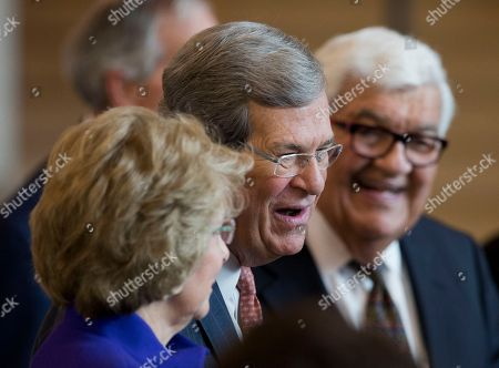 Trent Lott, Tricia Lott Former U.S. Senate Majority Leader Trent Lott, center, and his wife Tricia Lott, left, attend the unveiling of former Vice President Dick Cheney's marble bust in the Emancipation Hall at the U.S. Capitol in Washington
