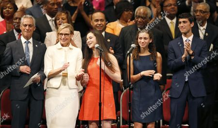 Stock Photo of Rahm Emanuel, Amy Rule, Leah Emanuel, Ilana Emanuel, Zach Emanuel Chicago Mayor Rahm Emanuel, left, stands with his family from left, wife Amy Rule, daughters Leah and Ilana, and son Zach, during inaugural ceremonies, in Chicago