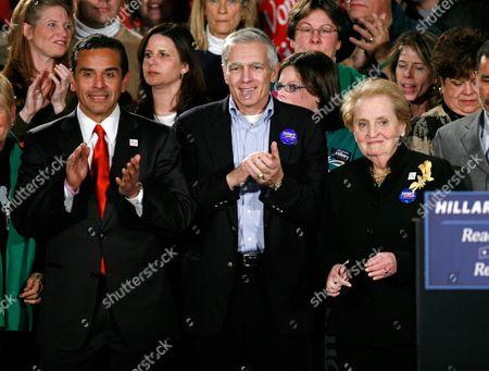 Antonio Villaraigosa; Wesley Clark; Madeleine Albright From left, Los Angeles Mayor Antonio Villaraigosa, retired U.S. Army General Wesley Clark and former U.S. Secretary of State Madeleine Albright attend the caucus night rally for Democratic presidential hopeful Sen. Hillary Rodham Clinton, D-N.Y., in Des Moines, Iowa
