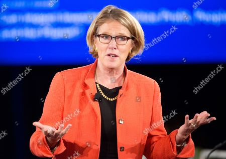 """Stock Picture of Elizabeth L. Littlefield Elizabeth Littlefield, President and CEO of the Overseas Private Investment Corporation, speaks in a panel discussion, """"Can impact investing prioritize profit, people, and the planet?"""" at the Clinton Global Initiative, in New York"""