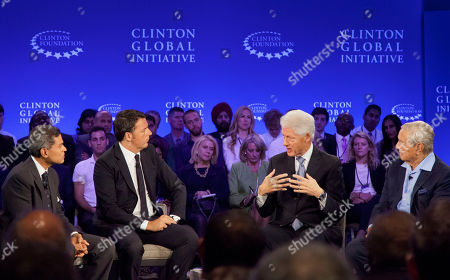 Former President Bill Clinton Italian Prime Minister Matteo Renzi George Soros, Chairman of Soros Fund Management CNN correspondent Fareed Zakaria, left, and Italian Prime Minister Matteo Renzi, second from left, listen to former President Bill Clinton during a television interview for CNN, at the Clinton Global Initiative in New York. George Soros, right, is the Chairman of Soros Fund Management