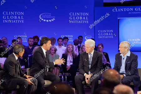 Former President Bill Clinton Italian Prime Minister Matteo Renzi George Soros, Chairman of Soros Fund Management CNN correspondent Fareed Zakaria, left, listens to Italian Prime Minister Matteo Renzi, second from left, talking with former President Bill Clinton and George Soros, right, Chairman of Soros Fund Management, during a television interview for CNN, at the Clinton Global Initiative in New York