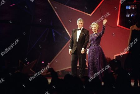 President Clinton and Hillary Rodham Clinton appear at the MTV Ball at the Washington Convention Center . Sarah Phillips, who designed the violet-and-lace creation Mrs. Clinton wore to the 1993 inauguration, had less than two years experience as a designer