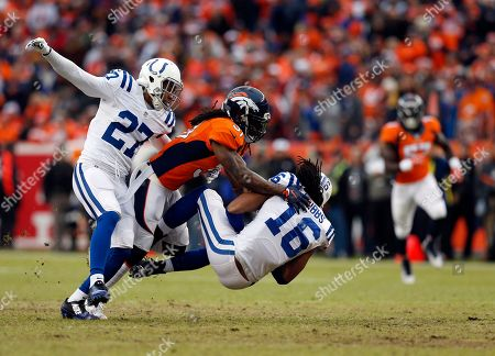 Denver Broncos strong safety Omar Bolden (31) tackles Indianapolis Colts wide receiver Josh Cribbs (16) as Colts' Josh Gordy (27) defends during the first half of an NFL divisional playoff football game, in Denver